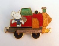 Vintage Pennywhistle Lane Mouse Cloisonne Enamel Brooch By Fish And Crown.